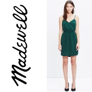 Madewell Wrap Front Cami Dress In Green 2